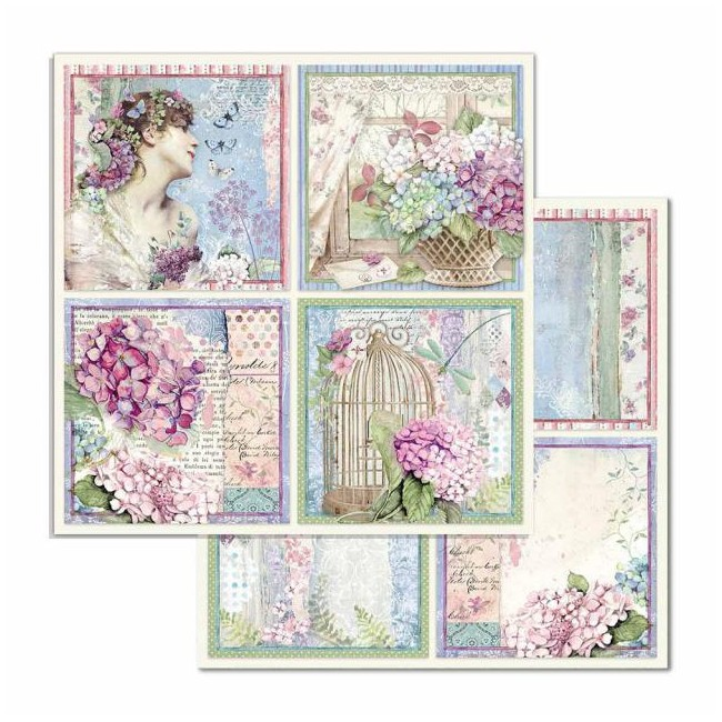 Papel Estampado Doble Cara 12x12 Hortensia 4 Cards