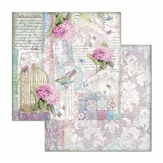 Papel Estampado Doble Cara 12x12 Hortensia Cage and Birds