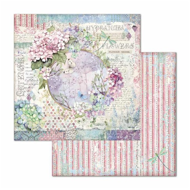 Papel Estampado Doble Cara 12x12 Hortensia Garland