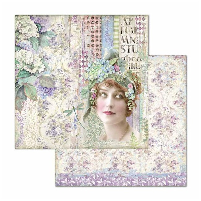 Papel Estampado Doble Cara 12x12 Hortensia Lady