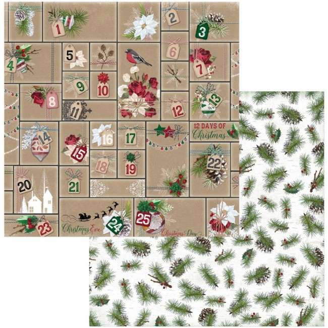 Papel Estampado Doble Cara 12x12 Joyful Christmas Advent