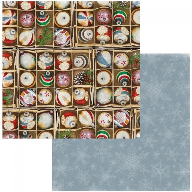 Papel Estampado Doble Cara 12x12 Joyful Christmas Decorations