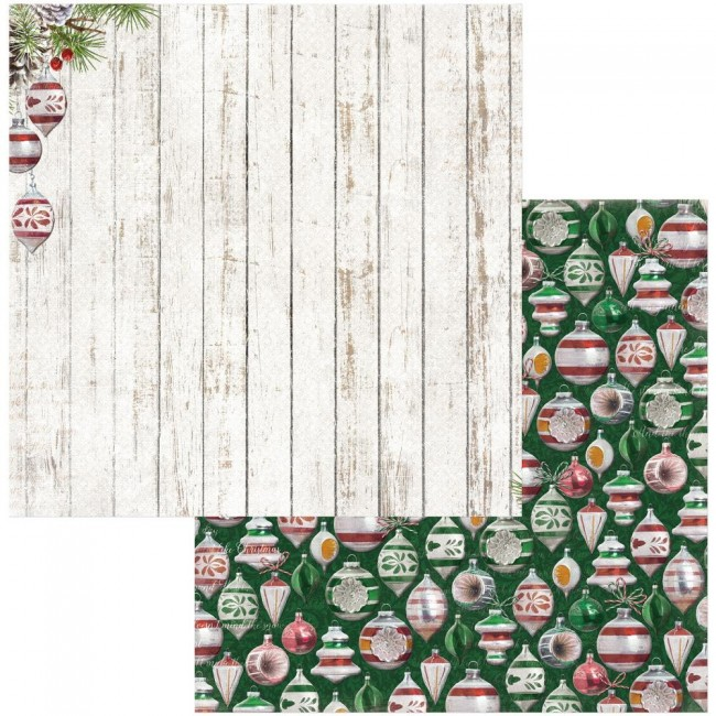 Papel Estampado Doble Cara 12x12 Joyful Christmas Ornaments