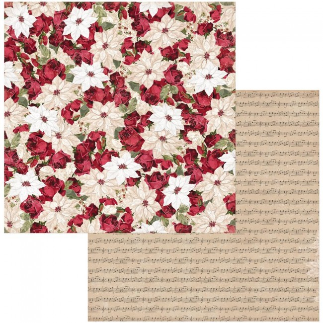 Papel Estampado Doble Cara 12x12 Joyful Christmas Poinsettia