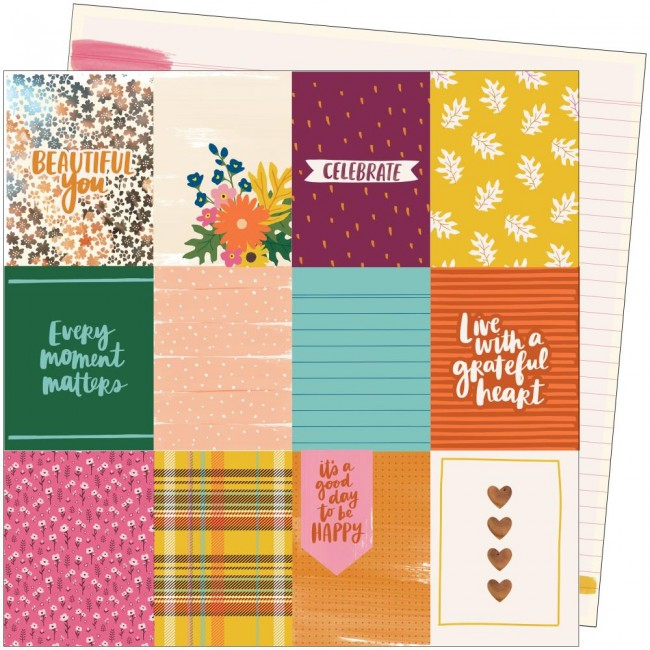Papel Estampado Doble Cara 12x12 Late Afternoon Amy Tangerine Beautiful You