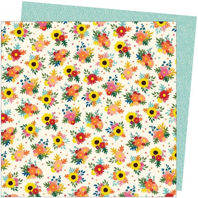 Papel Estampado Doble Cara 12x12 Late Afternoon Amy Tangerine Bright Bouquets