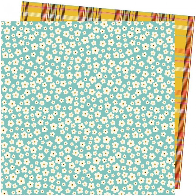 Papel Estampado Doble Cara 12x12 Late Afternoon Amy Tangerine Stitched Together