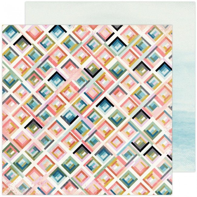 Papel Estampado Doble Cara 12x12 Old School City Grid