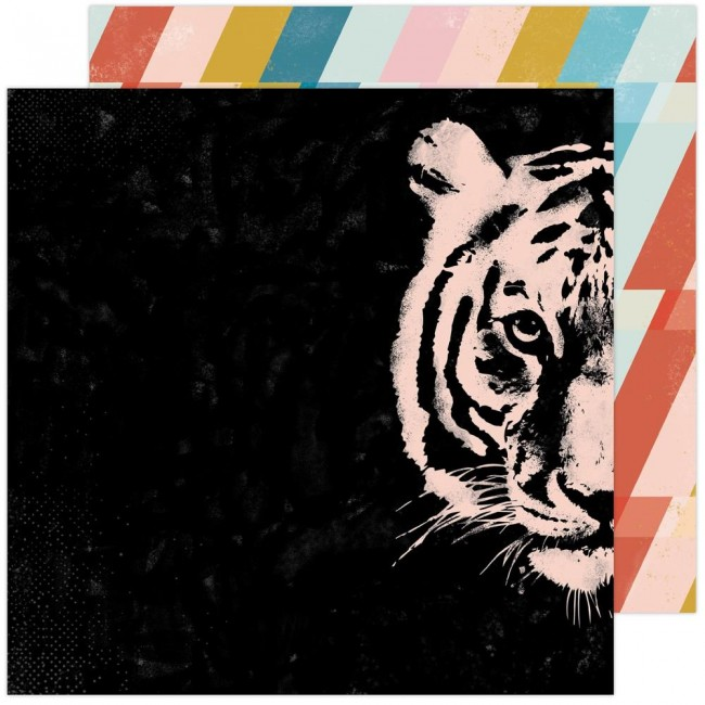 Papel Estampado Doble Cara 12x12 Old School Hey Tiger