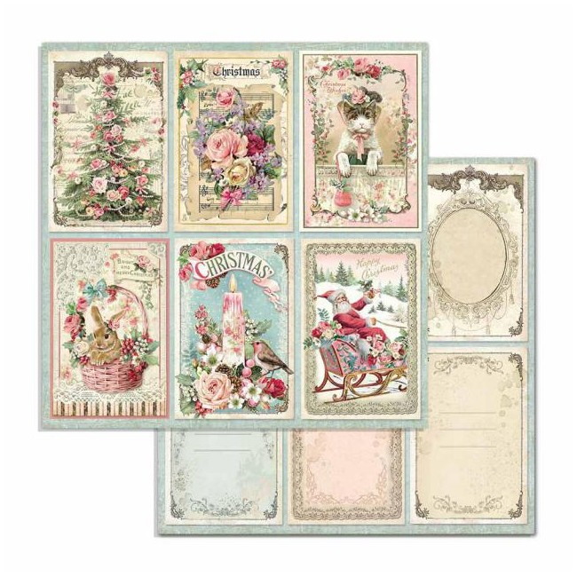 Papel Estampado Doble Cara 12x12 Pink Christmas Christmas Cards