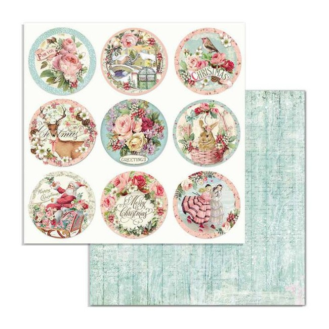 Papel Estampado Doble Cara 12x12 Pink Christmas Christmas Rounds