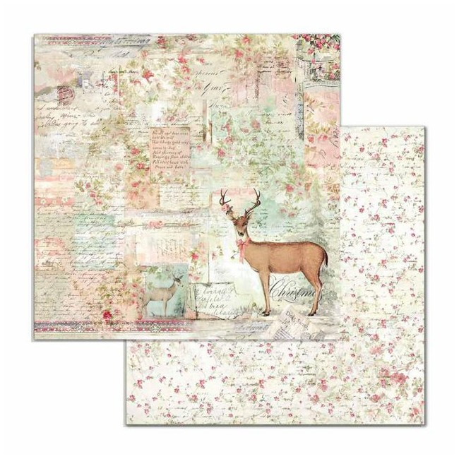 Papel Estampado Doble Cara 12x12 Pink Christmas Deer