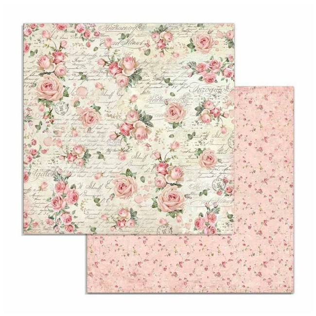 Papel Estampado Doble Cara 12x12 Pink Christmas Rose Wallpaper