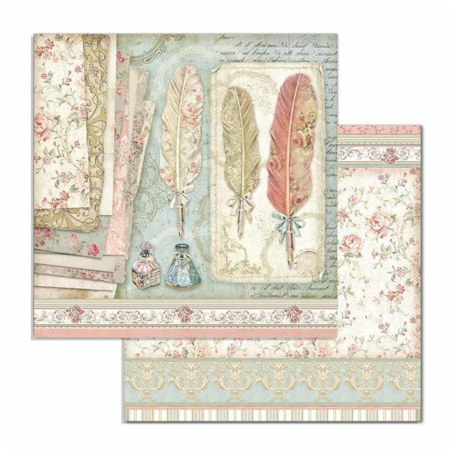 Papel Estampado Doble Cara 12x12 Princess ST Feathers