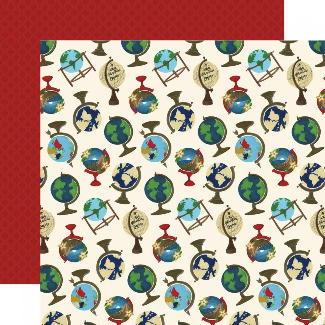 Papel Estampado Doble Cara 12x12 Scenic Route Globes