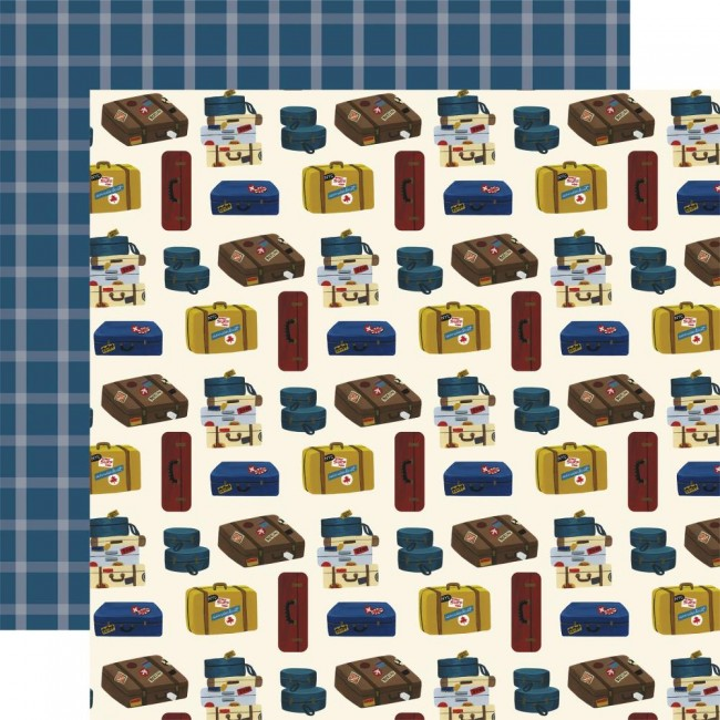 Papel Estampado Doble Cara 12x12 Scenic Route Luggage