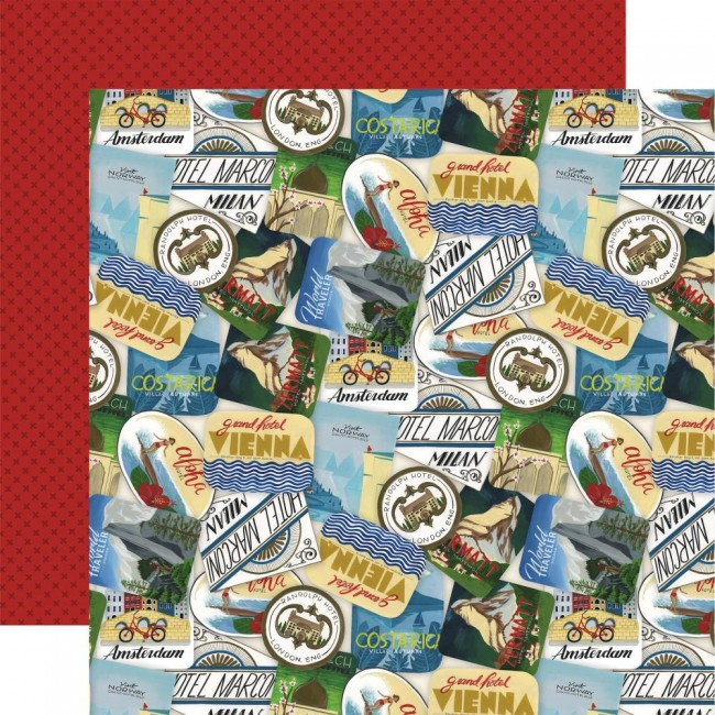 Papel Estampado Doble Cara 12x12 Scenic Route Travel Stickers