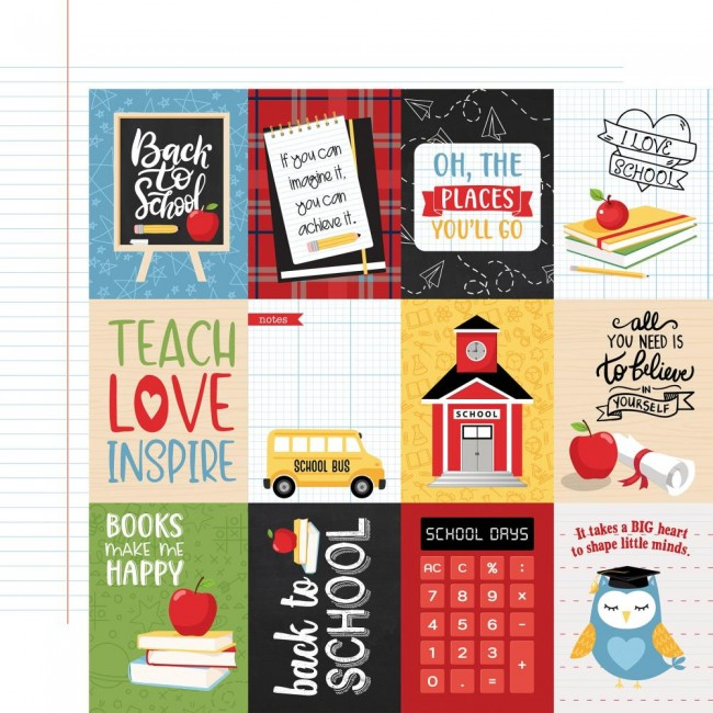 "Papel Estampado Doble Cara 12x12 School Rules 3""X4"" Journaling Cards"