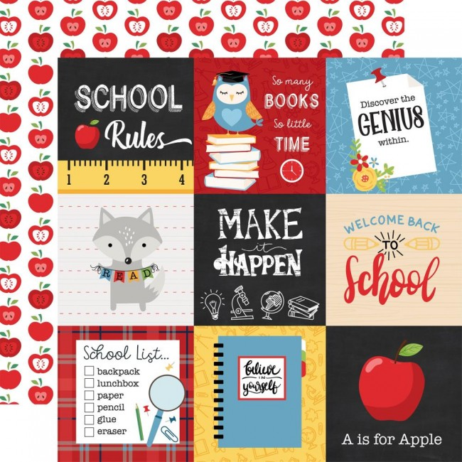 "Papel Estampado Doble Cara 12x12 School Rules 4""X4"" Journaling Cards"