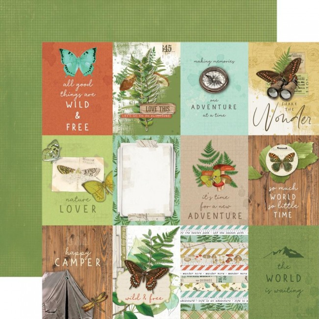 "Papel Estampado Doble Cara 12x12 Simple Vintage Great Escape 3""X4"" Elements"