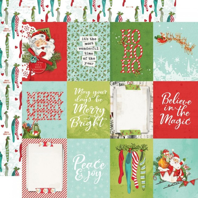 "Papel Estampado Doble Cara 12x12 Simple Vintage North Pole 3""X4"" Elements"