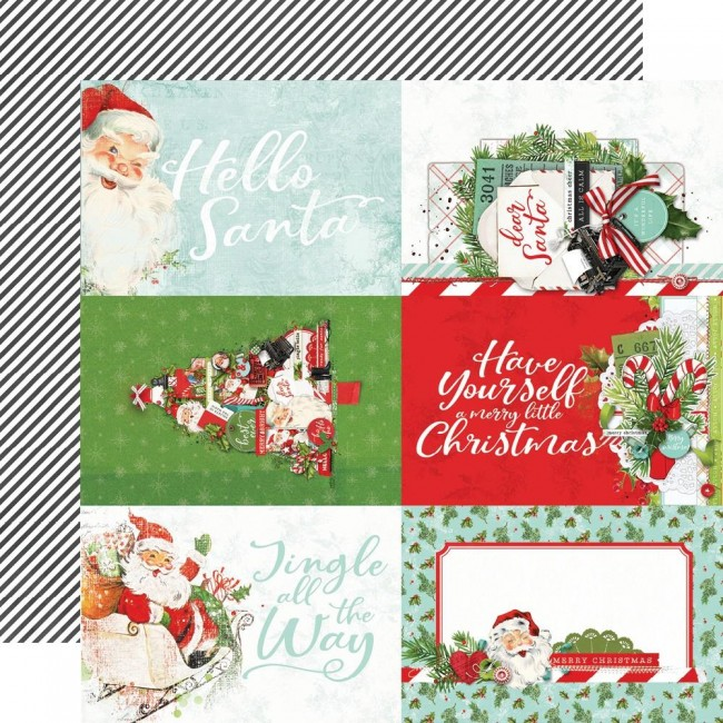 "Papel Estampado Doble Cara 12x12 Simple Vintage North Pole 4""X6"" Elements"