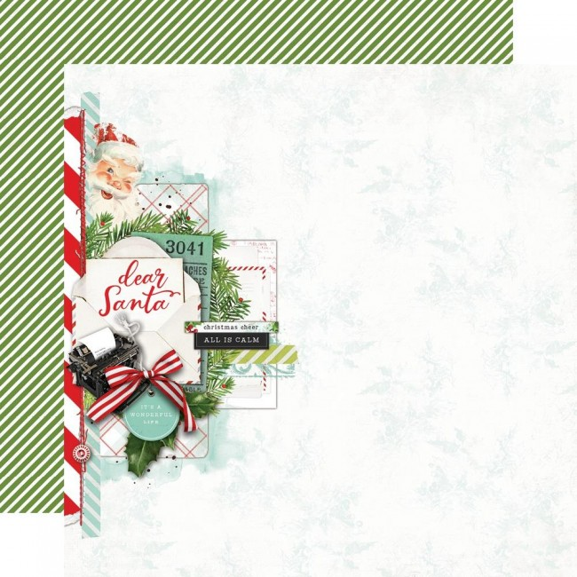 Papel Estampado Doble Cara 12x12 Simple Vintage North Pole Dear Santa