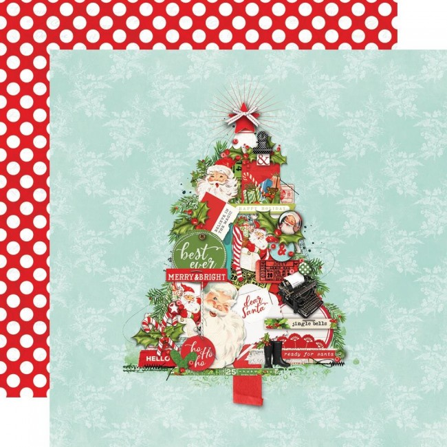 Papel Estampado Doble Cara 12x12 Simple Vintage North Pole The Trimmings