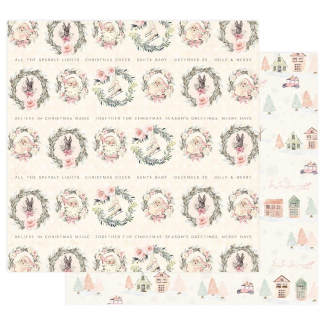 Papel Estampado Doble Cara 12x12 Sugar Cookie Together For Christmas