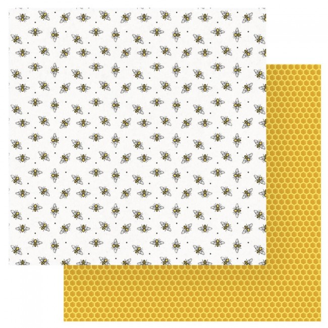 Papel Estampado Doble Cara 12x12 Wild Honey Busy Bee