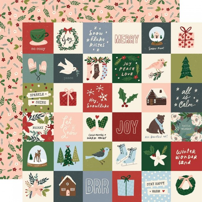 "Papel Estampado Doble Cara 12x12 Winter Cottage 2""X2"" Elements"