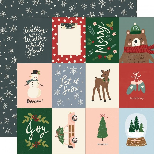"Papel Estampado Doble Cara 12x12 Winter Cottage 3""X4"" Elements"