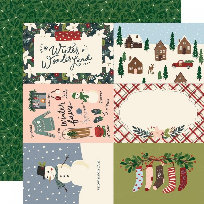 "Papel Estampado Doble Cara 12x12 Winter Cottage 4""X6"" Elements"