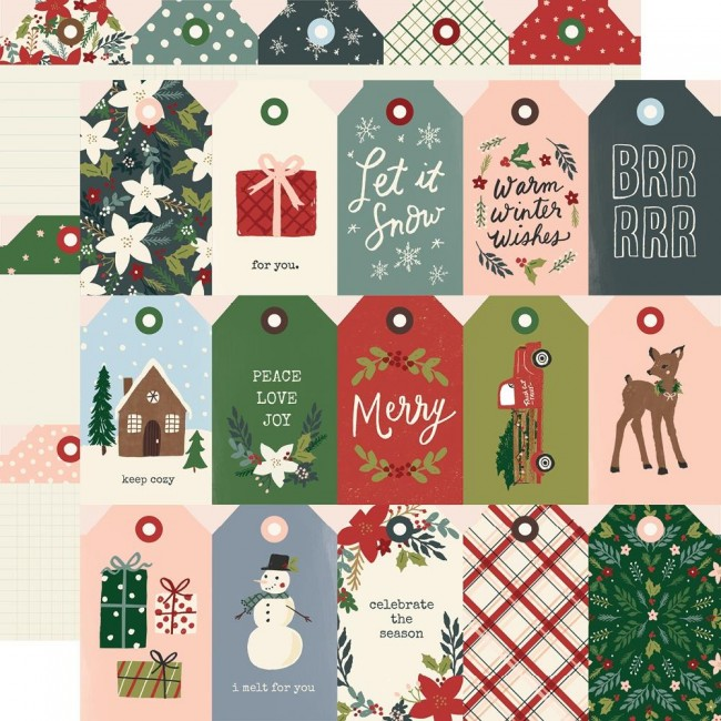 Papel Estampado Doble Cara 12x12 Winter Cottage Tags