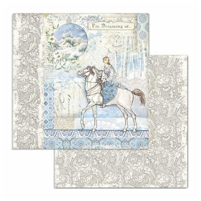 Papel Estampado Doble Cara 12x12 Winter Tales Horse