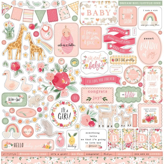 Pegatinas 12x12 Welcome Baby Girl Elements