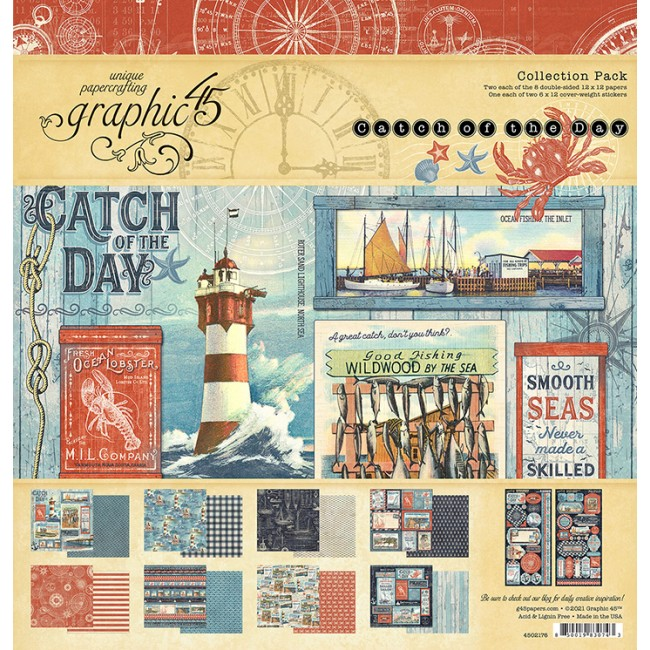 Stack Papeles Estampados 12x12 Catch Of The Day