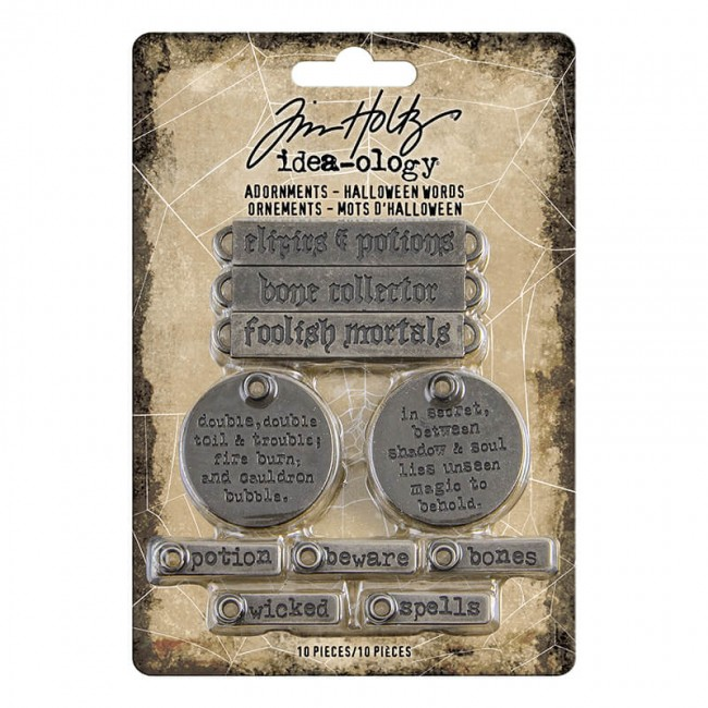 Metálicos Idea-Ology Tim Holtz Antique Nickel Halloween Words