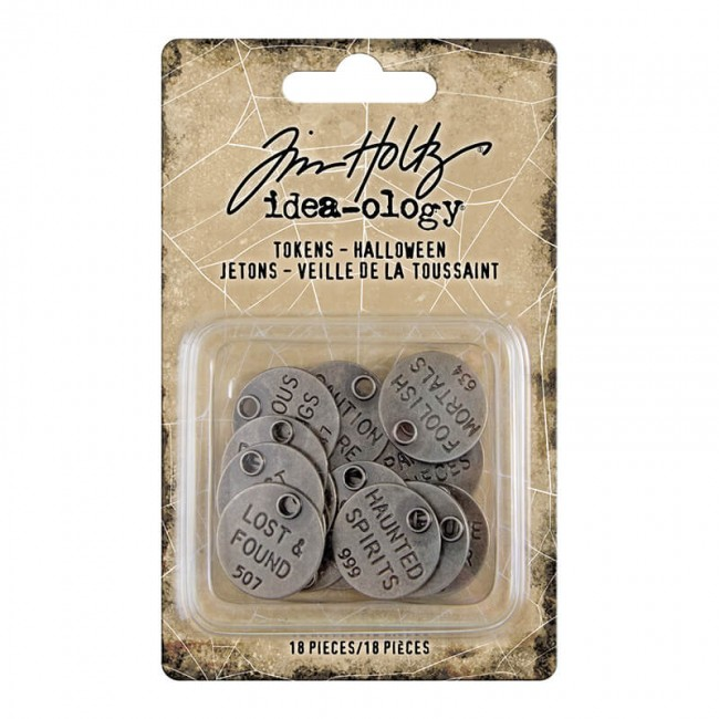 Metálicos Idea-Ology Tim Holtz Antique Nickel Halloween Words Typed Tokens