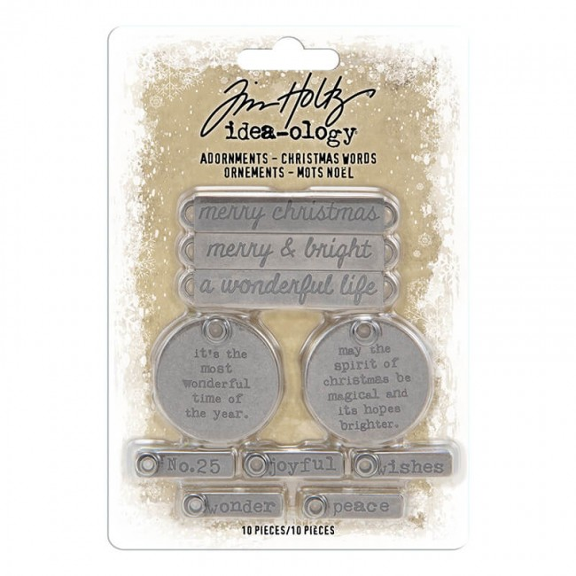Metálicos Idea ology Antique Nickel Christmas Words Tim Holtz