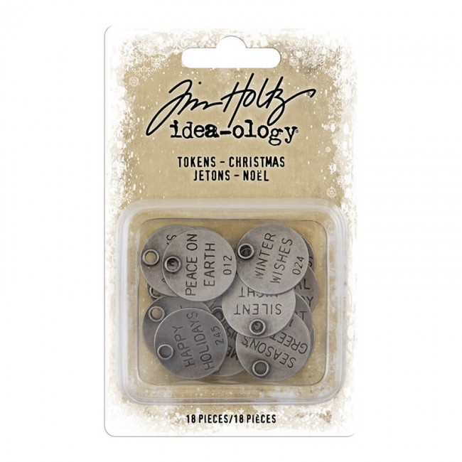 Metálicos Idea-ology Tokens Antique Nickel Christmas Words Tim Holtz