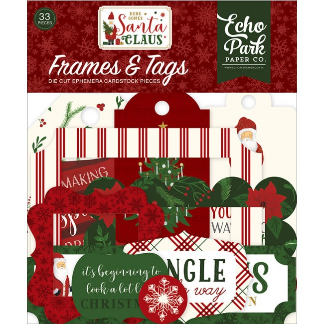 Die Cuts Here Comes Santa Claus Frames & Tags
