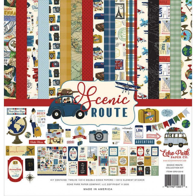 Kit Papeles Estampados 12x12 Scenic Route