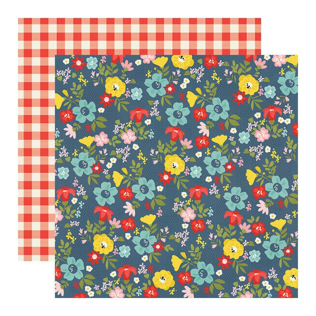 Papel Estampado Doble Cara 12x12 Summer Farmhouse Backyard BBQ