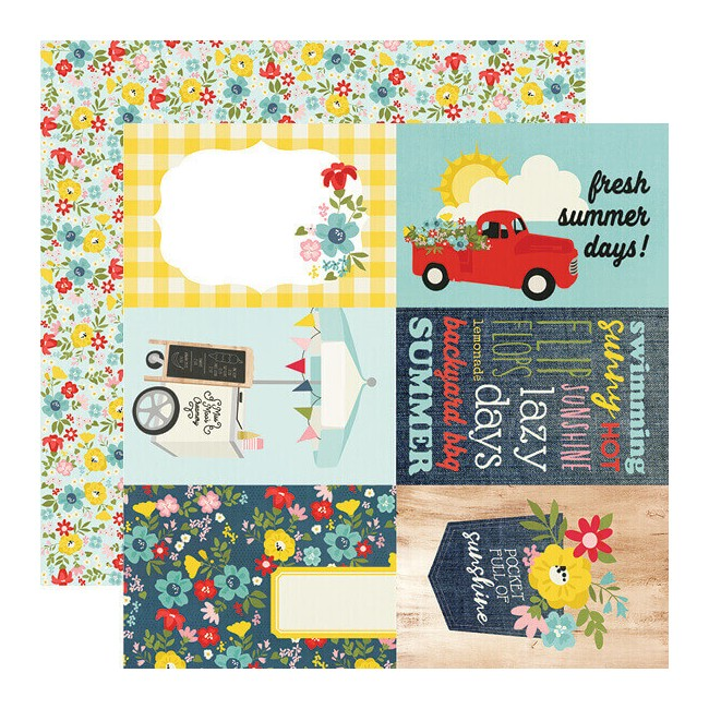 "Papel Estampado Doble Cara 12x12 Summer Farmhouse 4""X6"" Elements"