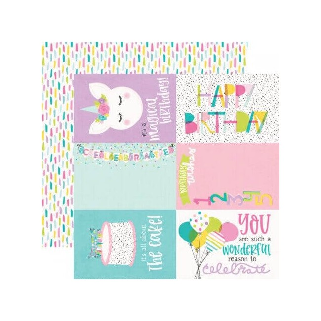 "Papel Estampado Doble Cara 12x12 Magical Birthday 4""X6"" Elements"