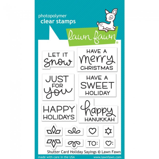 Sello Acrílico 3x4 Lawn Fawn Shutter Card Holiday Sayings