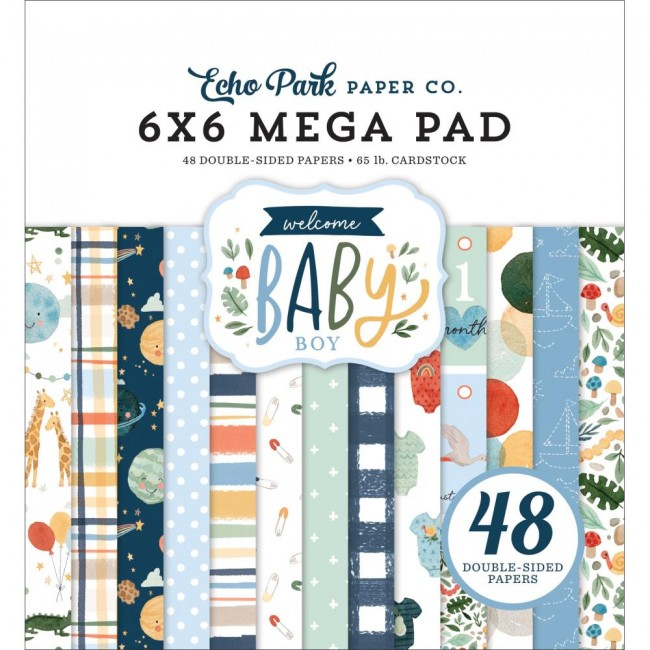Mega Stack Papeles Estampados 6x6 Welcome Baby Boy