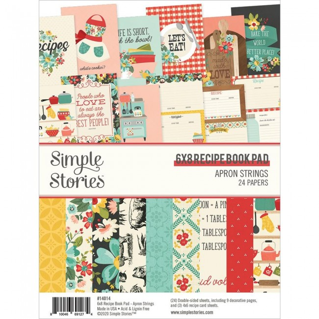 Stack Papeles 6x8 Apron Strings  Recipe Book