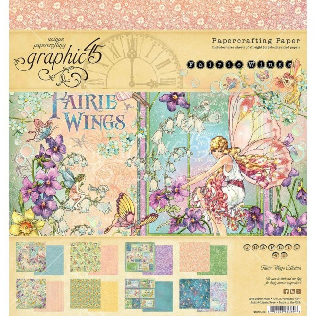 Stack Papeles Estampados 8x8 Fairie Wings